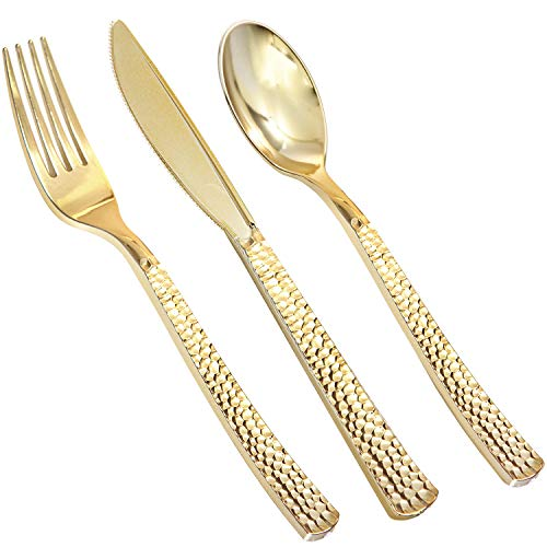 360pcs Plastic Gold Silverware, Plastic Gold Cutlery, Disposable Gold Flatware,Elegant Plastic durable Cutlery, 120 Gold Knives, 120 Gold Forks, 120 Gold Spoons, Enjoylife (Gold 360)