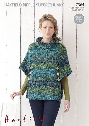 Sirdarhayfield Ripple Super Chunky Knitting Pattern 7364 Poncho