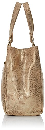 CUPLE Mano Separador Rizas Roca, Bolso Bandolera para Mujer, Beige (Beige / Oro), 10x22x25 cm (W x H x L)