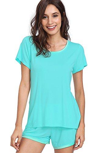 GYS Women's Soft Scoop Neck Shorts Pajama Set (XL,Emerald Green)