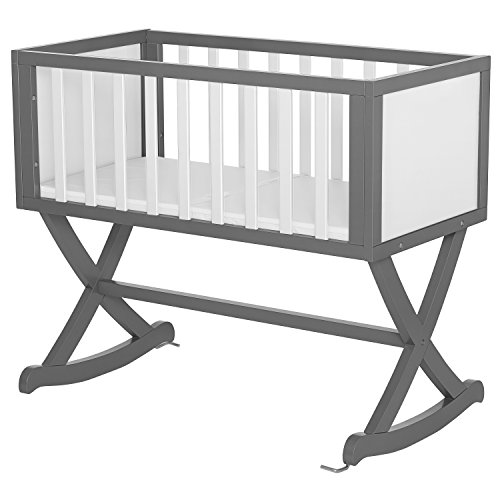 Dream On Me Luna Cradle, Grey and White