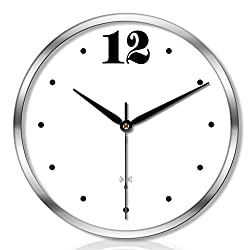 JKL-wall clock,Radio Controlled, Non-Ticking,Round Decorative (Color : Silver, Size : 14inches)