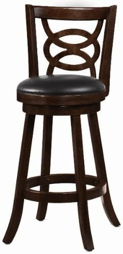 Coaster Home Furnishings Set of 2 29 H Bar Stools Black Padded Seat Cappuccino Finish