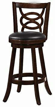 29 Swivel Bar Stools with Upholstered Seat Espresso and Black Set of 2