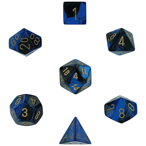 Polyhedral 7-Die Gemini Chessex Dice Set - Black-Blue w/gold CHX-26435 - Chessex Rpg Dice Sets