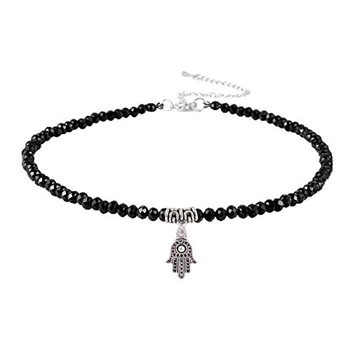 ZRDMN Pendant Necklace for Women Angel Wing Pendant Black tip Crystal Stone Small Fairies Necklace and a Hand Strap Necklace and a Hand. -