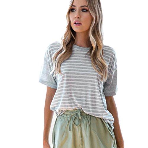 Winwintom Mujeres manga corta algodón tanque Crop tops blusa camiseta