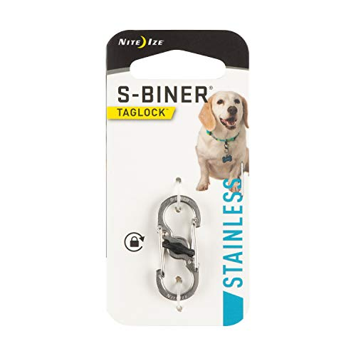 Nite Ize S-Biner TagLock, Dual Carabiner Clip For Dog Tags With Secure Lock, Stainless Steel