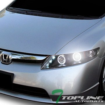(Topline Autopart 6000K Hid Xenon Black Halo Led Projector Head Lights Lamps 06-11 Honda Civic 4Dr)