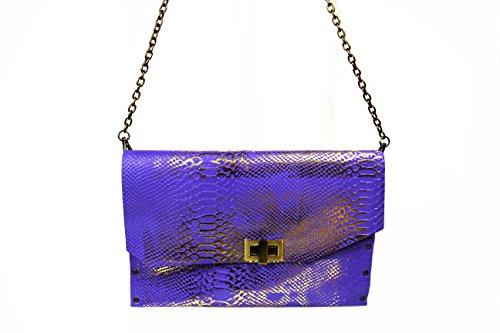 HiveBag , Sac pour femme à porter à l'épaule Lila - Gold 28x14x3