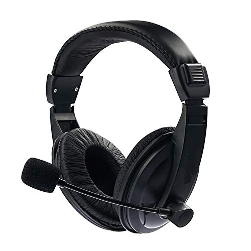 Alician Black Adjustable Headset Music Gaming Microphone Headphone Plug and Play with 3.5mm for PC Laptop Computer