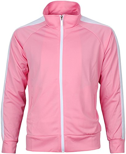 Angel Cola Men's Retro Stripes Full Zip-up Track Top Jacket 1s Pink XL
