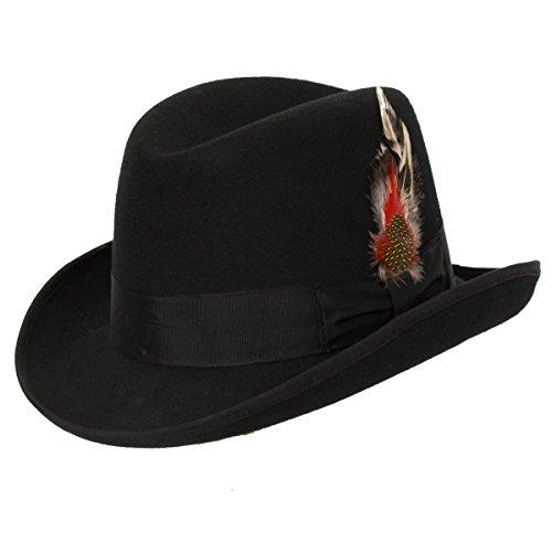Brim Homburg - Levine Hat CO 'Magnus' Firm Felt Homburg Godfather Hat 100% Wool (X-Large)