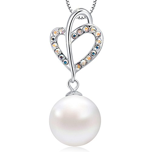 (MEGACHIC Women Sterling Silver White Freshwater Pearl Heart Pendant Necklace Crystals from Swarovski)
