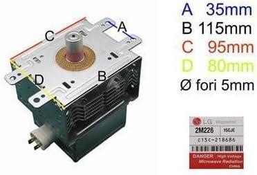 Magnetron LG 2m226para horno a microondas DeLonghi Samsung Whirlpool Smeg AEG