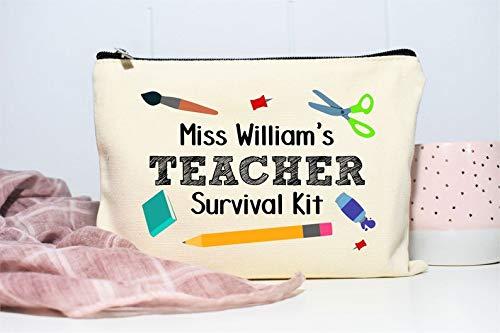 Teacher Survival Kit, Gift for Teacher, End of Year Teacher Gift, Teacher Appreciation, Pencil Pouch, Personalized Makeup Bag, School Gift