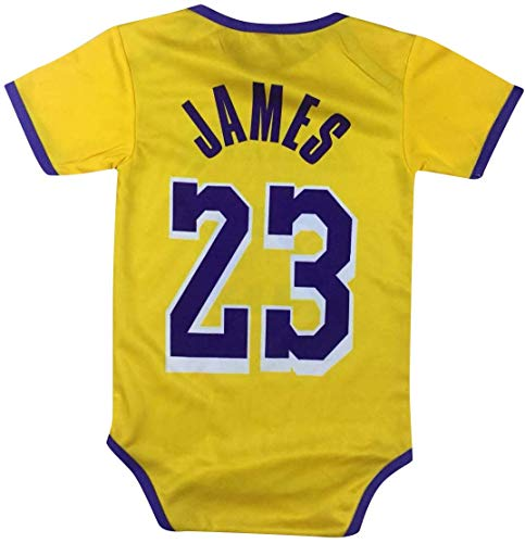 Icer Brand James Basketball Baby Romper Jersey Lebron Infant Toddler Onesies Pack of 2 Home & Away Jersey Design Bundle Premium Quality (12-24 mo, Home Pack of 1)