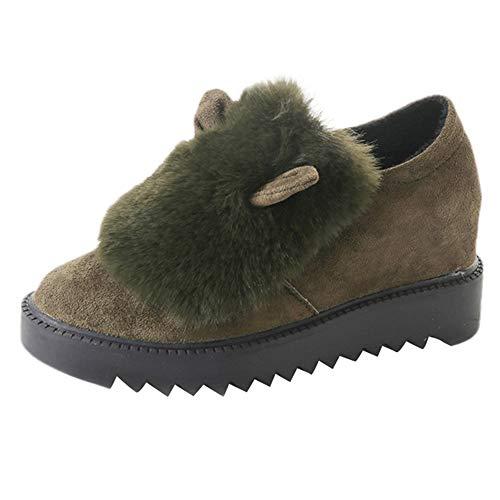 HOSOME Women Faux Fur Shoes Non-Slip Flat Platform Winter Warm Snow Casual Single -