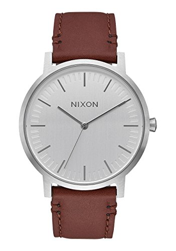 Nixon Men's 'Porter' Quartz Metal and Leather Watch, Color:Brown (Model: A10581113-00)