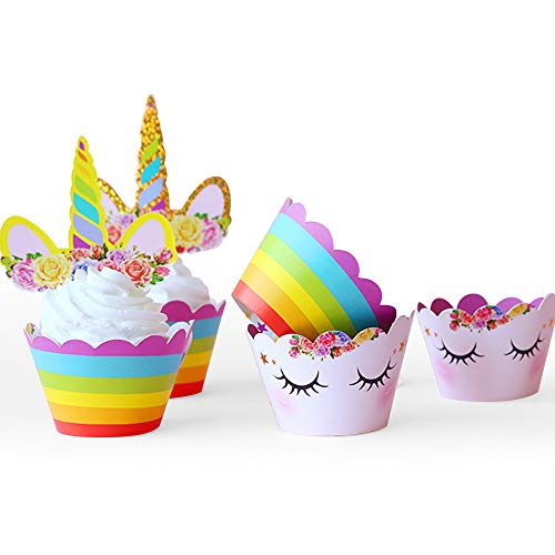 Unicorn Cupcake Toppers and Wrappers Double Sided Kids