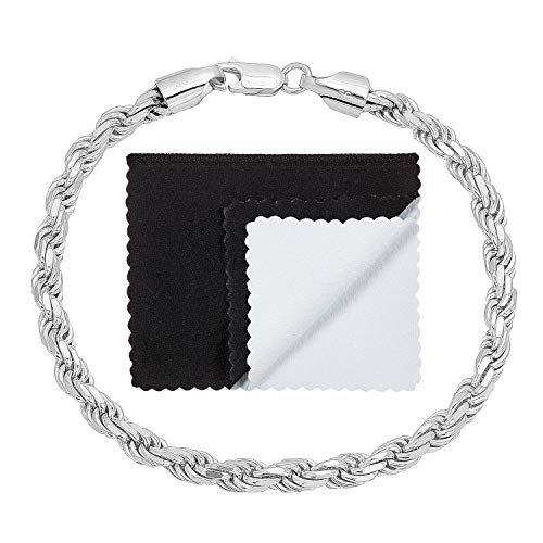 4.8mm Authentic 925 Sterling Silver Diamond-Cut Rope Chain Bracelet, 8 inches Made in Italy + Bonus Cloth - Bracelet Rope French
