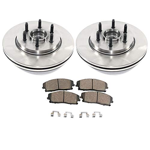 Detroit Axle - Pair (2) 330mm Front Disc Brake Rotors w/Ceramic Pads w/Hardware for 2004 2005 2006 2007 2008 Ford F-150 2WD 6 Lug - [06-08 Lincoln Mark ()