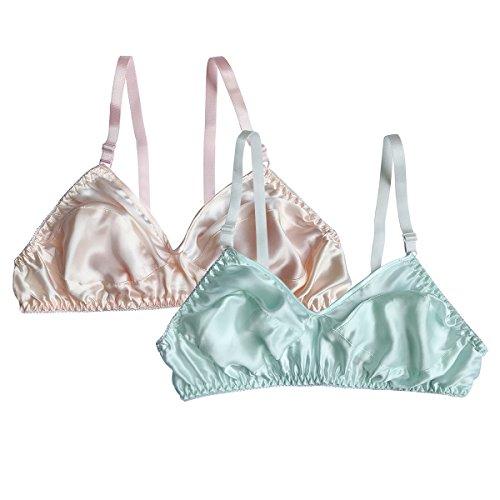 (Farlenoyar Women Pure Silk Bra Soft Underwear Smooth Health Unpadded Bra Multi Size (34-75/A-B, F))