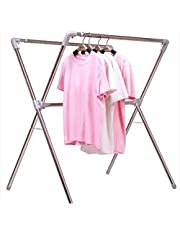 ZKS-KS Clothes Airer, X-shaped Drying Rack Floor Multi-function Drying Rack Folding Outdoor Drying Rack (Color : Stainless steel, Size : 107 * 57 * 183cm)