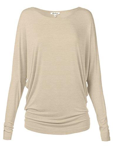 Plus Size Lovely Drape Batwing Long Dolman Sleeve Tunic Plus Shirts (Custom Embroidered Denim Shirt)