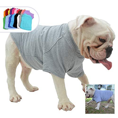 (Lovelonglong Bulldog Clothes Dog Clothing Blank T-Shirt Tee Shirts for French Bulldog English Bulldog American Pit Bull Pugs 100% Cotton Skin Care Gray)