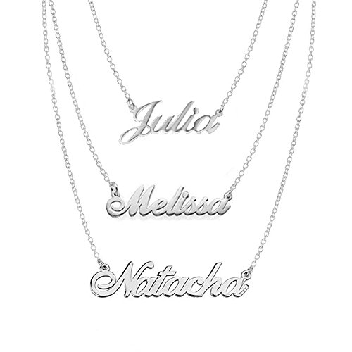 (Ouslier 925 Sterling Silver Personalized Triple Pendants Name Necklace Custom Made with 3 Names (Silver))