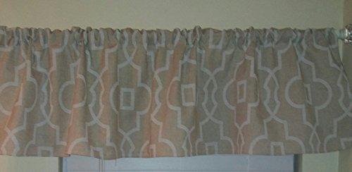 Beige Linen and ecru off white trellis, valance curtain, window treatment, Lyon collection, trellis, room decor. Soft pale colors, modern design. Moroccan,