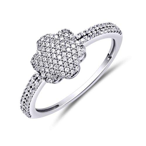 0.40 Ct Tw Round Diamonds - 14K White Gold Natural White Round Diamond 0.40 ct tw Promise Ring.size 7.5