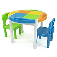 Humble Crew Kids 2-in-1 Plastic Building Blocks Compatible Activity Table with 100Pc Starter Blocks & 2 Chair Set