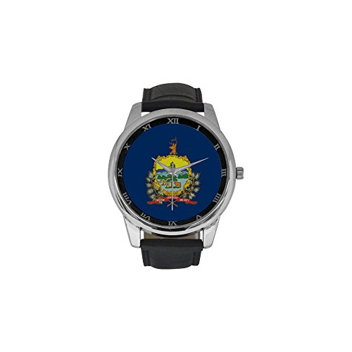 (Novelty Gift Vermont Flag American US State Men's Leather Strap Large Dial Watch)