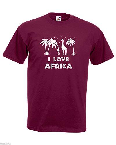 Bordeaux T amp; Girafe shirt Hommes Silhouettes Palmiers Afrique Modèle Girafes Citation Décalque Cadeau Gratuit Love Avec Oiseaux I AwqfAyTr
