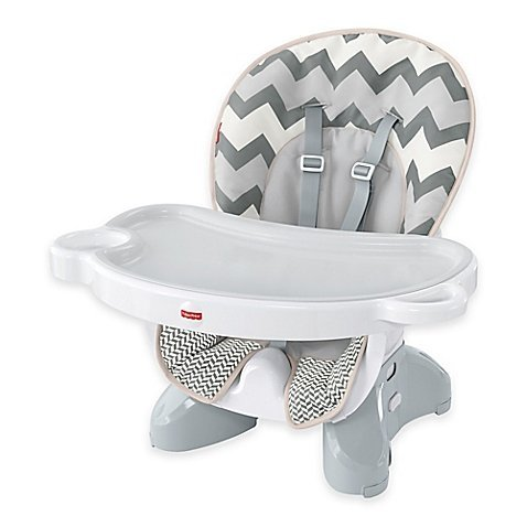 Deluxe Spacesaver High Chair in Grey/White