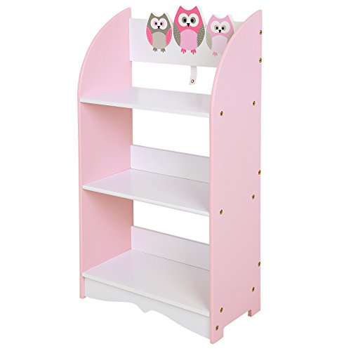 SONGMICS Kid's Book Rack Storage Bookshelf Toy Storage Organizer with Owl Theme Pattern for Bedroom Playroom Pink ULKF03PK