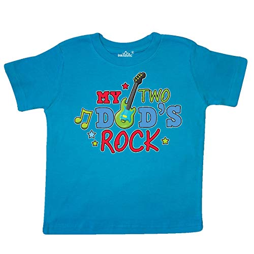 (inktastic - My Two Dads Rock with Guitar Toddler T-Shirt 5/6T Turquoise 35d59)