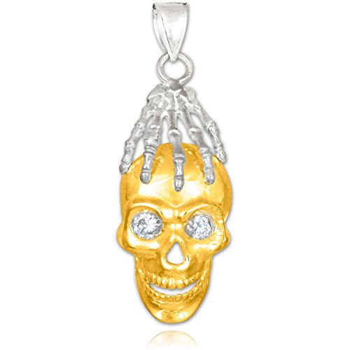 Petits Merveilles D'amour - 14 ct 585/1000 tonnes Or Deux crâne et main vierges Oxyde de Zirconium yeux pendentif