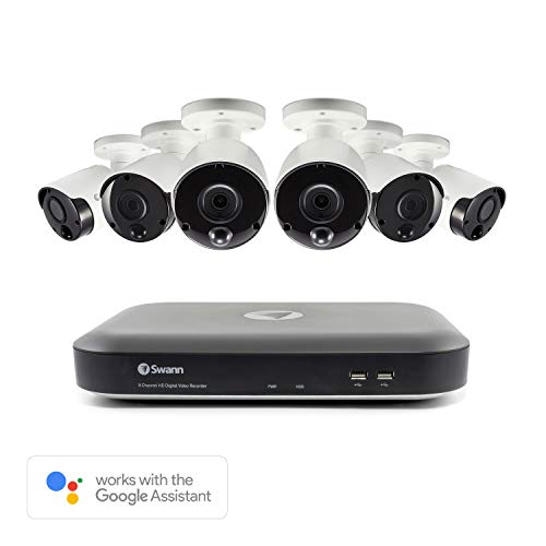 Swann Home Security Camera System, Wired 8 Channel 6 Cameras CCTV Surveillance 5MP Super HD DVR 2TB HDD, Audio Capture, Weatherproof, Night Vision, Heat & Motion Sensing, Alexa + Google, SWDVK-849806