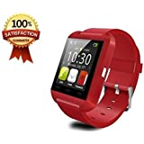 Mobile Link U8 Bluetooth Smart Watch With Touch Screen/Multilanguage/Wrist Watch With Activity Trackers And Fitness & Supports Apps Like Facebook And Whatsapp.. (RED) Compatible for Motorola Moto G 4G (2nd gen)