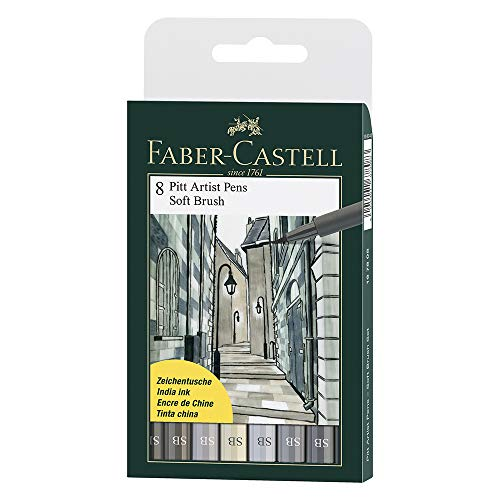 Faber Castel Art and Graphic, Pitt Artists Pens, Set of 8 Soft Brush Tip (SB), Shades of Grey (FC167808)