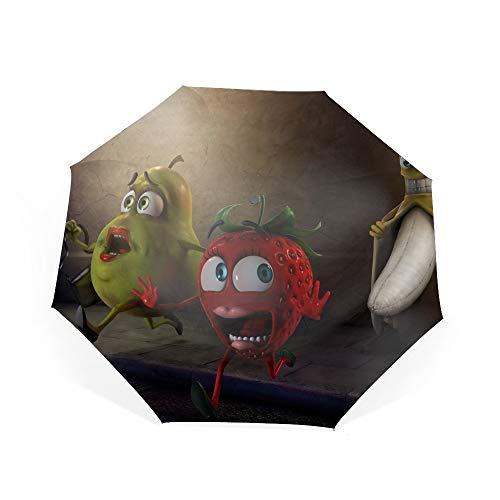 Banana Flasher Compact Travel Umbrella - Auto Open/Close Button]()