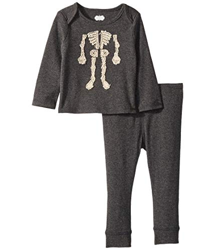 (Mud Pie Baby Boys Halloween Skeleton 2 Piece Long Sleeve Playwear Set, Gray, 0-3 Months)