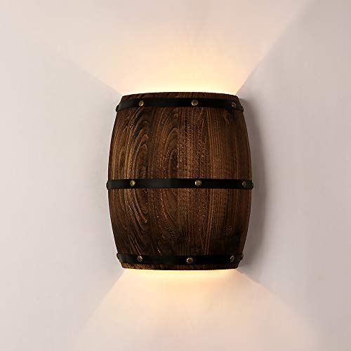Newrays Antique Wood Wine Barrel Wall Sconce Lighting Fixture Up and Down Indoor Wall Lamps for Bar Area Steampunk Theme (2 Light Bulbs)