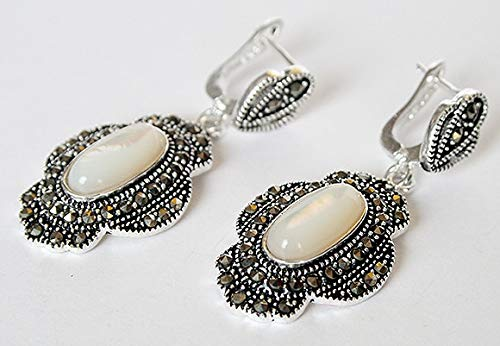 (Vintage Natural White Shell 925 Silver&Marcasite Earrings 11/2