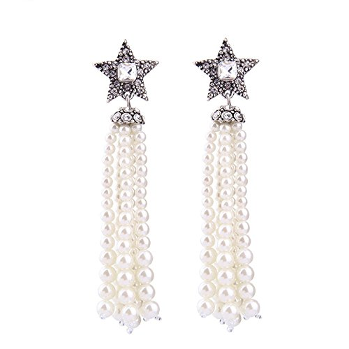 New Crystal Stars White Simulated Pearls Tassel Long Earrings Fashion Earrings for Women Party Jewelry - Marina And The Diamonds Emoji Costume