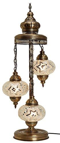 Turkish Moroccan Mosaic Glass Handmade Tiffany Floor Lamp Light, 29.5'' (Snow White) by BOSPHORUS
