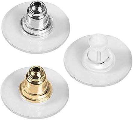 FineGood - 150 pares de almohadillas de seguridad para pendientes de embrague, color plateado, dorado y transparente
